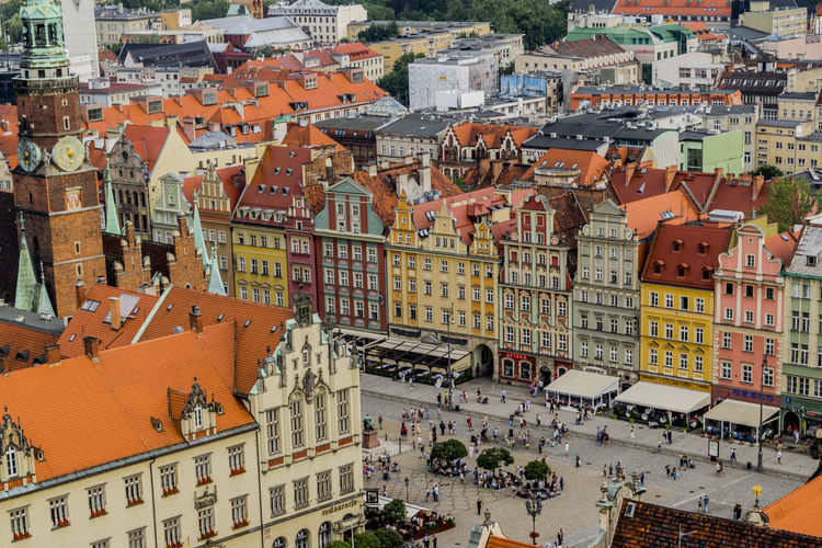 Main square from the viewer platform Architecture Building Exterior Built Structure Church City Crowded Day East Europe High Angle View House Mainsquare Outdoors Poland Red Roofs Residential Building Roof Rynek Wroclaw, Poland