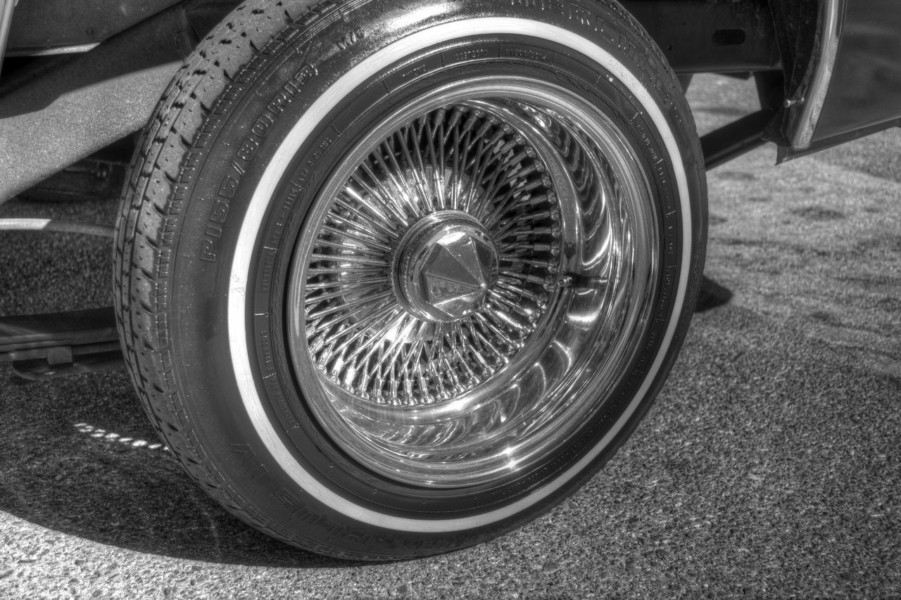 Calidreaminphotography HDR Nikon D3100 Blackandwhite Lowrider Whitewalls  Dayton Wire Wheel
