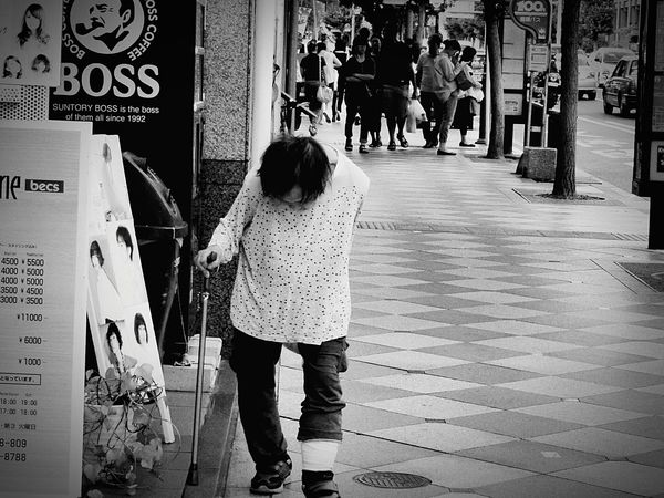 Black And White Photography Black & White B&w Street Photography Street Photography Streetphoto_bw Old Woman Walking Alone... Walking Cane Japan Photography Kyoto Kyoto, Japan 京都 Loneliness Lonely Life Is Tough