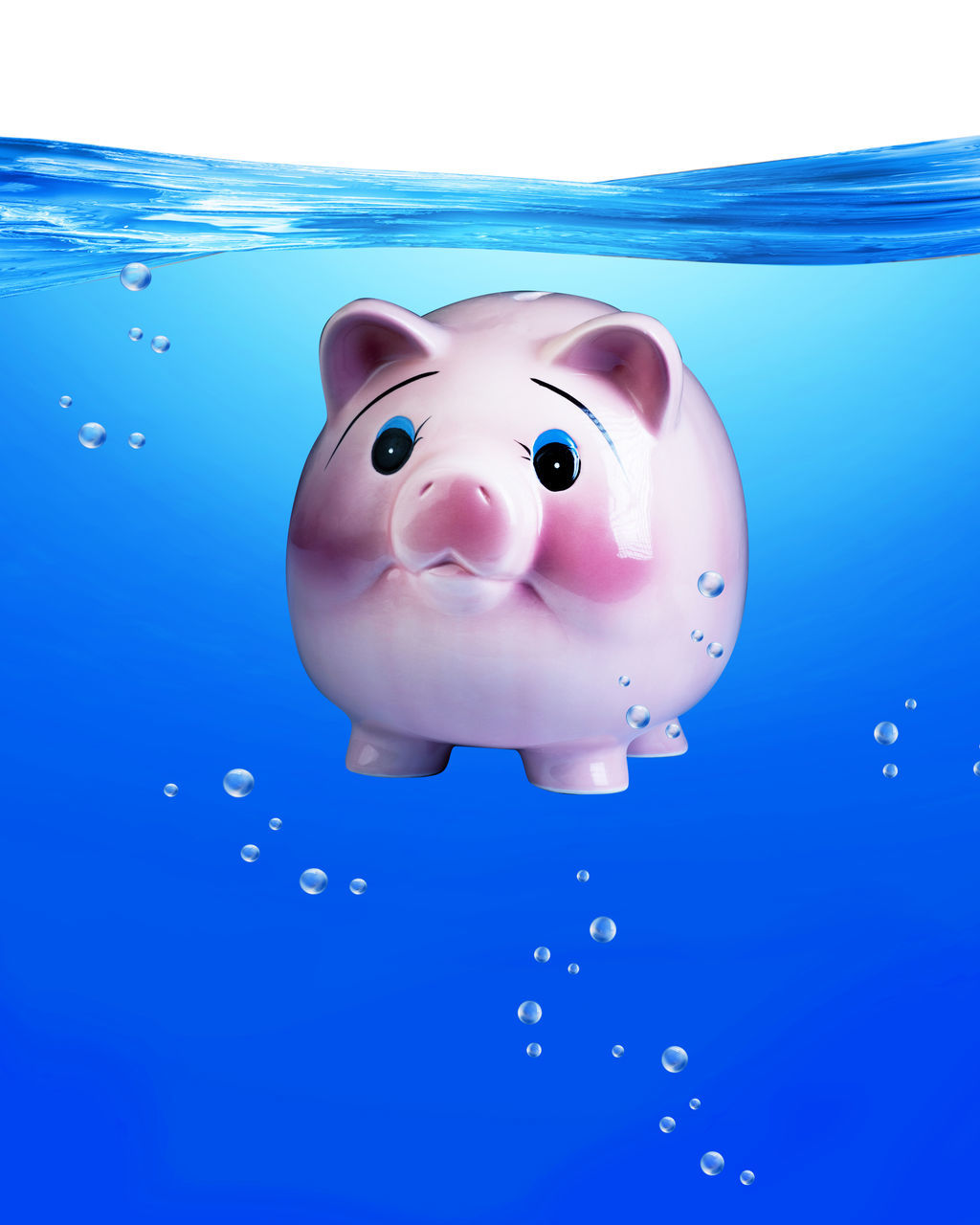 blue, water, piggy bank, savings, childhood, no people, close-up, day