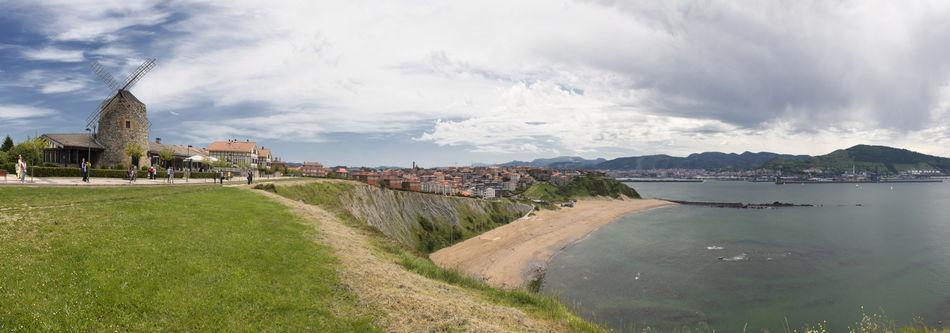 Basque Country Cantabric Sea Cliff Euskadi Getxo Panorama Panoramic Sea SPAIN Vizcaya Windmill