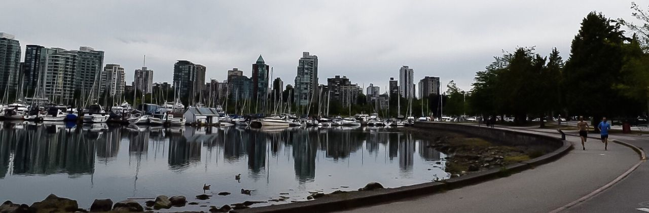 Urban Cityscape Vancouver Vancouver BC British Columbia Stanley Park Skyline Seawall Trail Runners