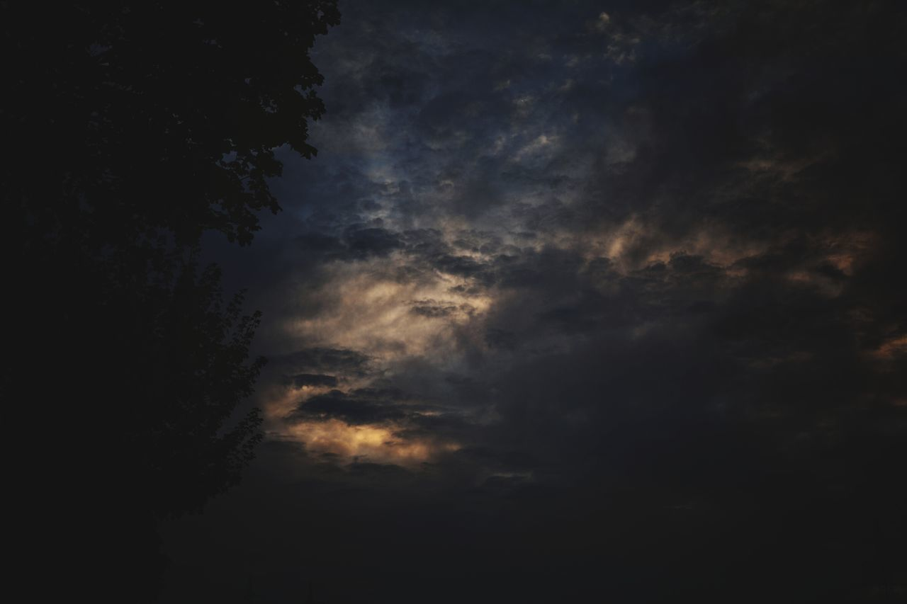 nature, sky, low angle view, beauty in nature, cloud - sky, tranquility, weather, no people, scenics, tranquil scene, silhouette, outdoors, sunset, backgrounds, tree, night