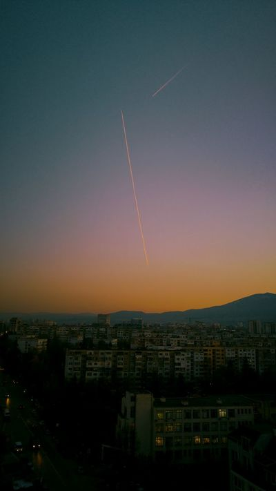 Sky Airplane Trajectory Plain Background Urban Skyline Beauty In Nature Low Angle View Beatiful View Tranquility Multi Colored Dramatic Sky Close-up Nature Trajectory Of The Light