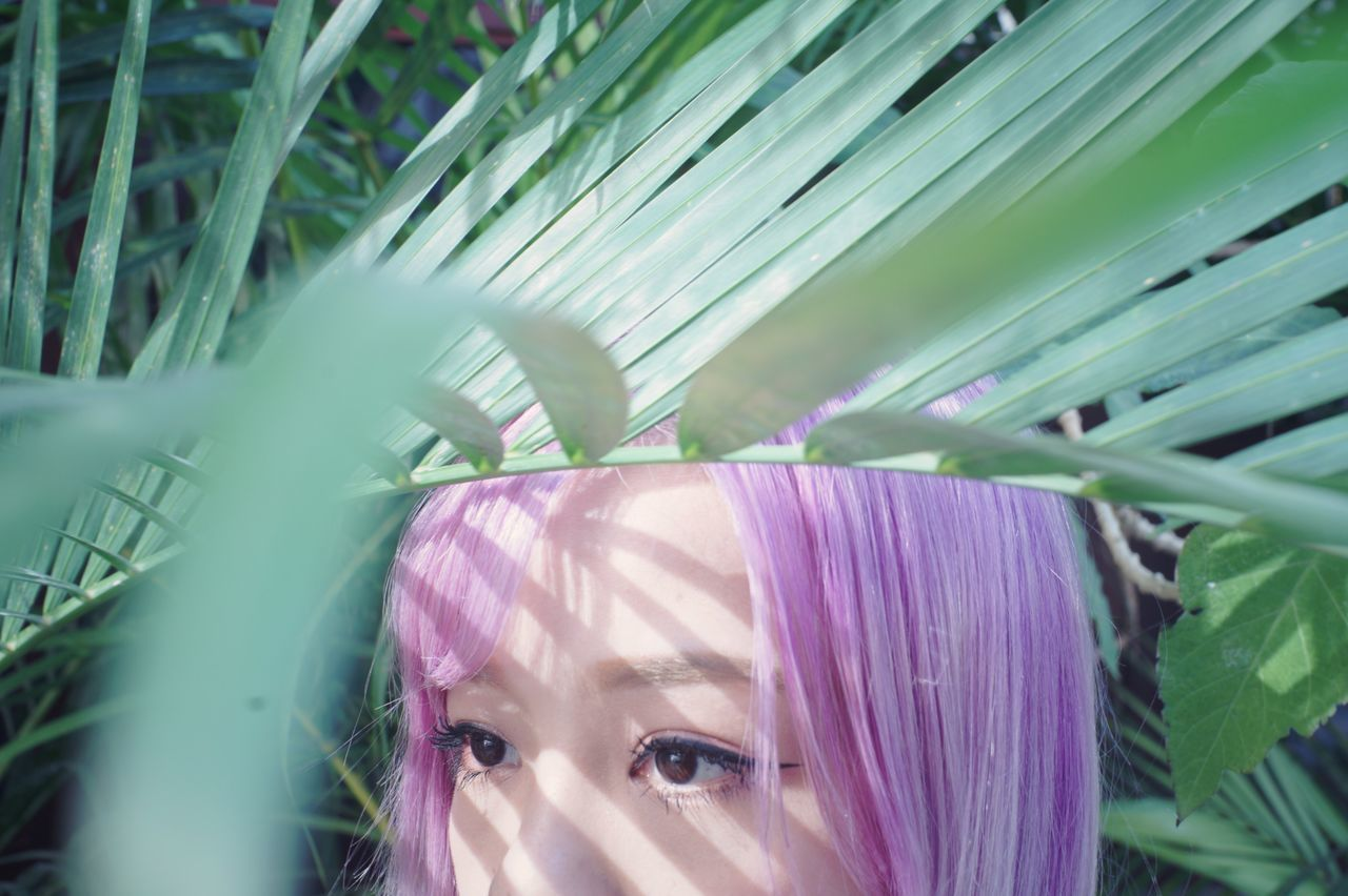 One Person Young Adult Headshot Lifestyles Young Women Green Purple Plant Portrait Nature Close-up Dyed Hair Outdoors Day