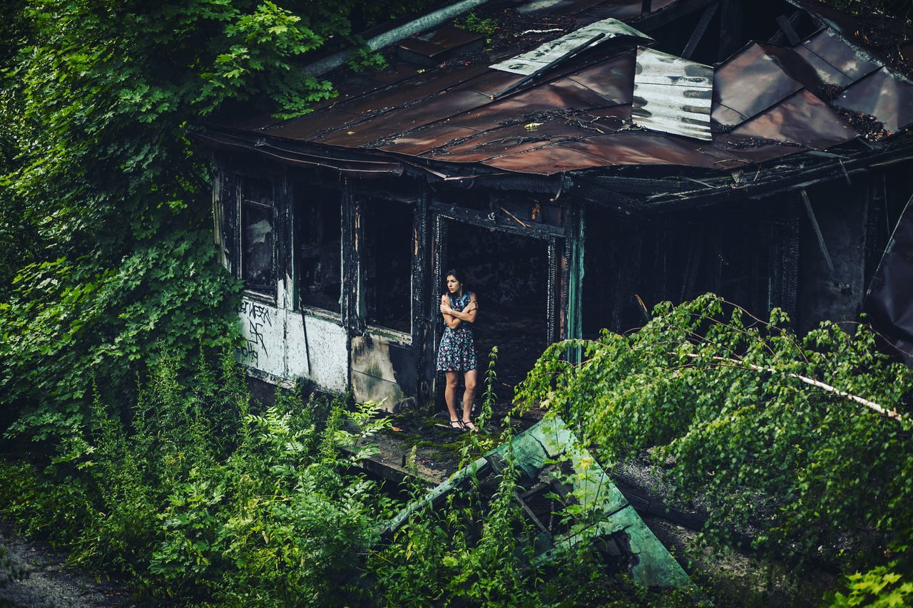 ruins_photography Beautiful model Poland urbex Woman brunette Dress Decay Ruins ruined building nostalgic vintage Green color outdoors