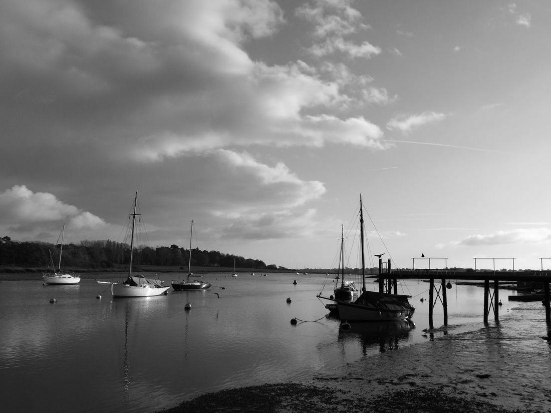 Water Sailboat Harbor Yacht Blackandwhite Photography Landscape Photography Deben River, Suffolk