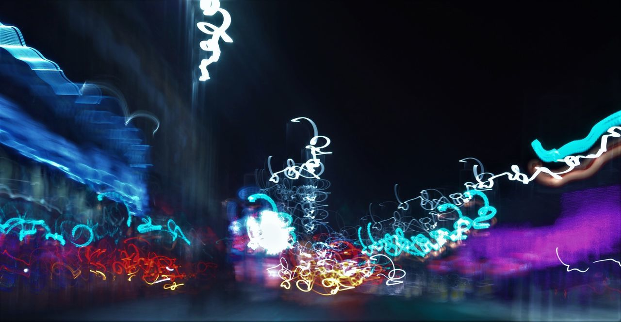 Illuminated Motion Night No People Outdoors Slow Shutter Squiggles Streetphotography