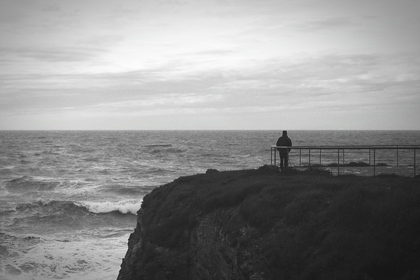 The man and the sea Man Sea Sky Black & White Against The Light The Week Of Eyeem Dream Remembers Nature Rocks And Water