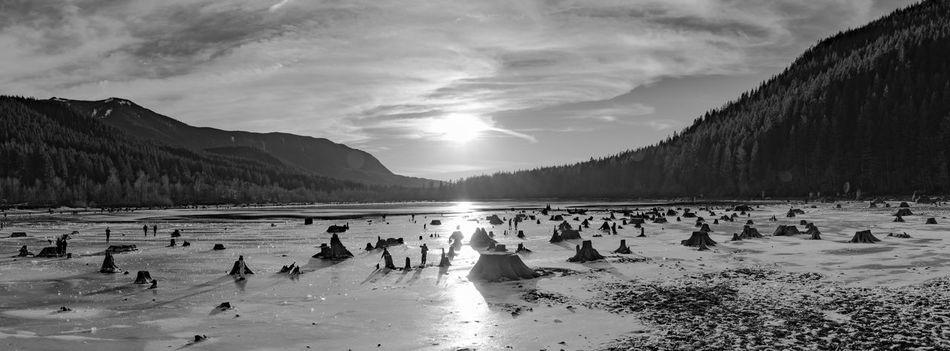 Silver Sunset Outdoors Landscape Beauty In Nature Panoramic SONY A7ii PNWonderland EyeEm Masterclass PNW Wanderlust Sonyimages Full Frame EyeEm Best Shots Black & White Cold Mountain Frozen Lake