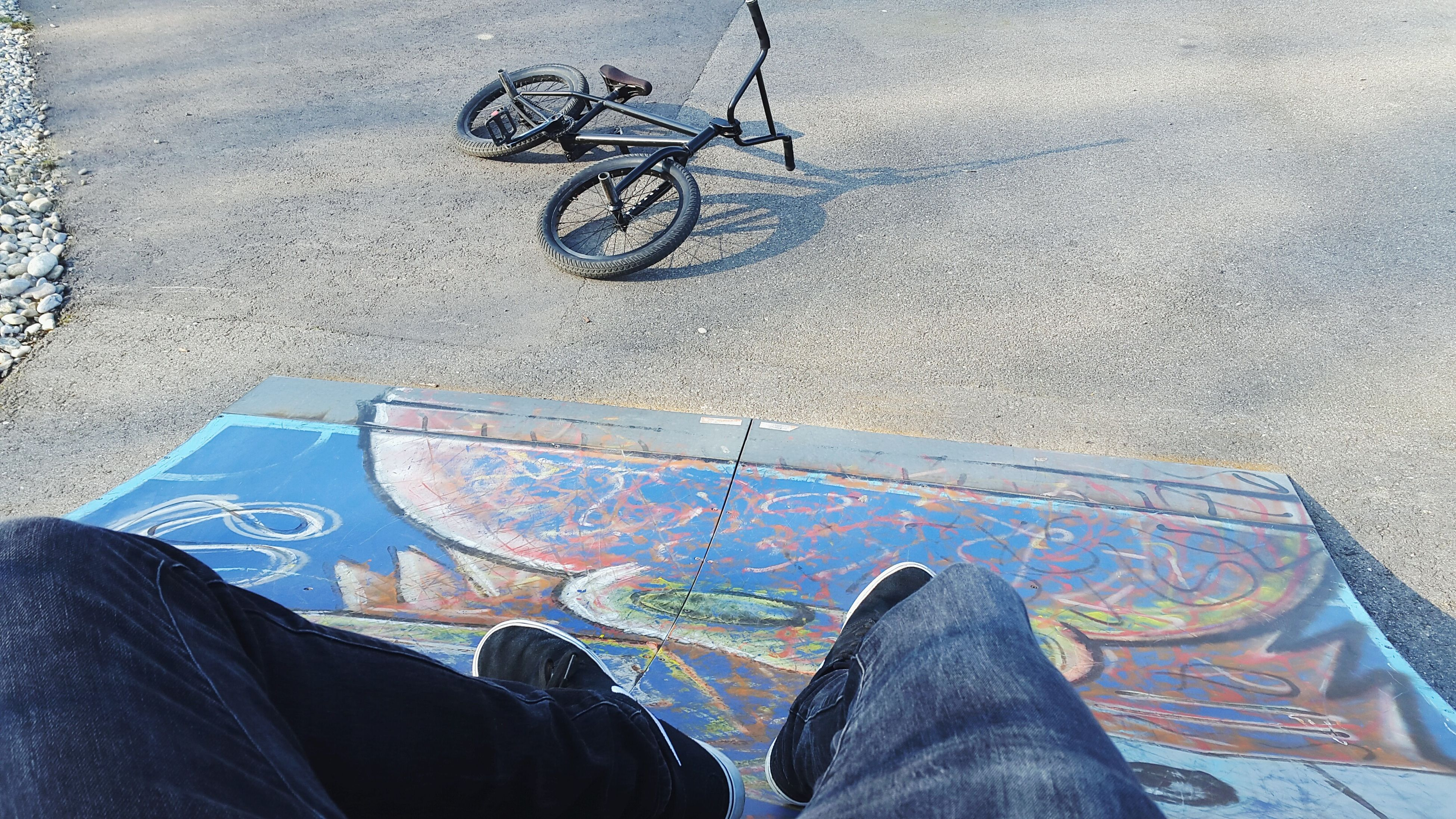 low section, transportation, person, mode of transport, shoe, men, land vehicle, personal perspective, lifestyles, bicycle, leisure activity, high angle view, part of, street, unrecognizable person, human foot, riding