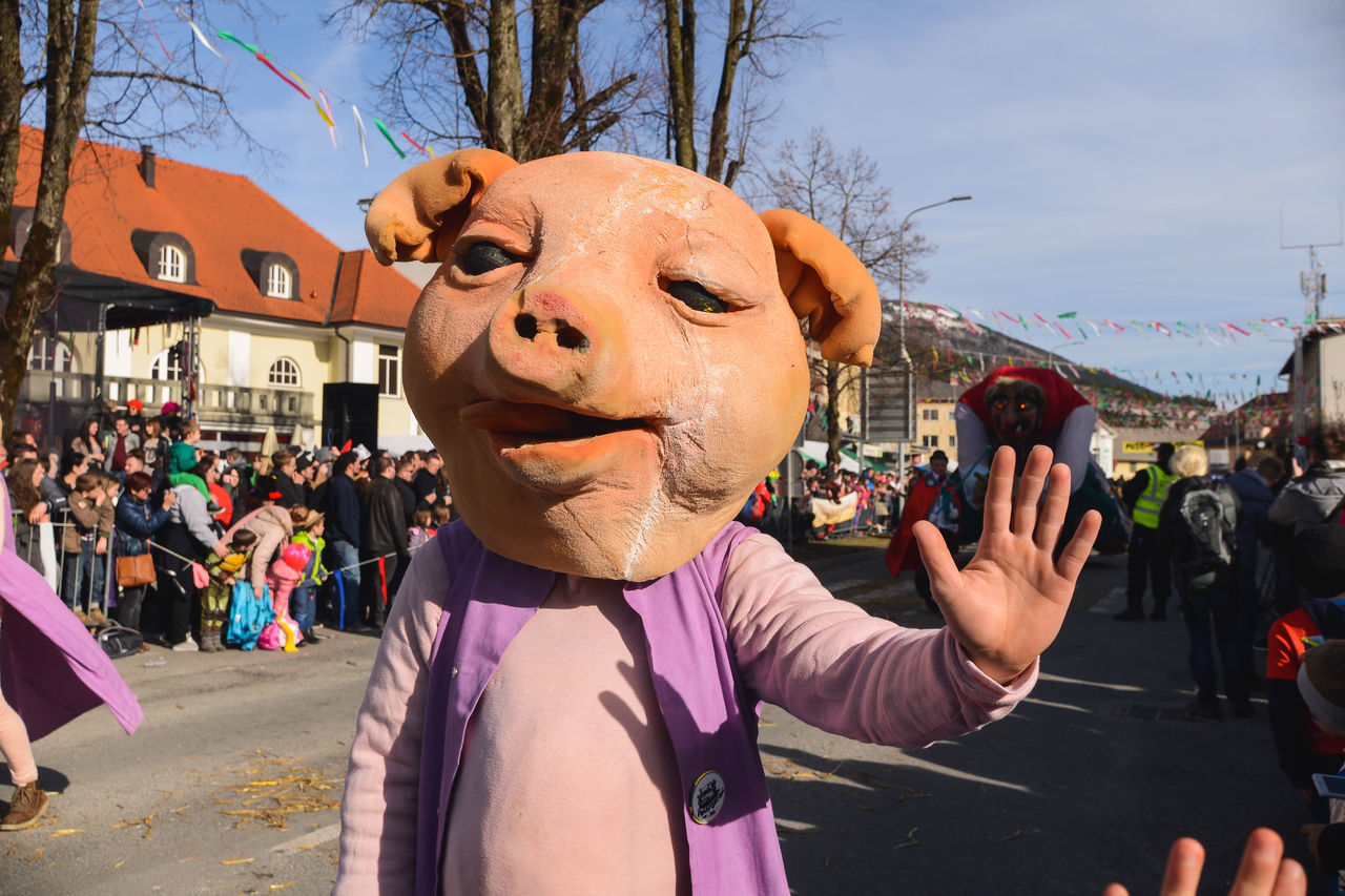 Adult Arts Culture And Entertainment Carnival Carnival Crowds And Details Carnival Mask Carnival Parade Carnival Party Carnival Spirit Carnival Time Celebration Celebration Event Cerknica Crowd Mask Masks Masquarade Masque Masquerade Men One Man Only One Person Outdoors Pig Pust Slovenia