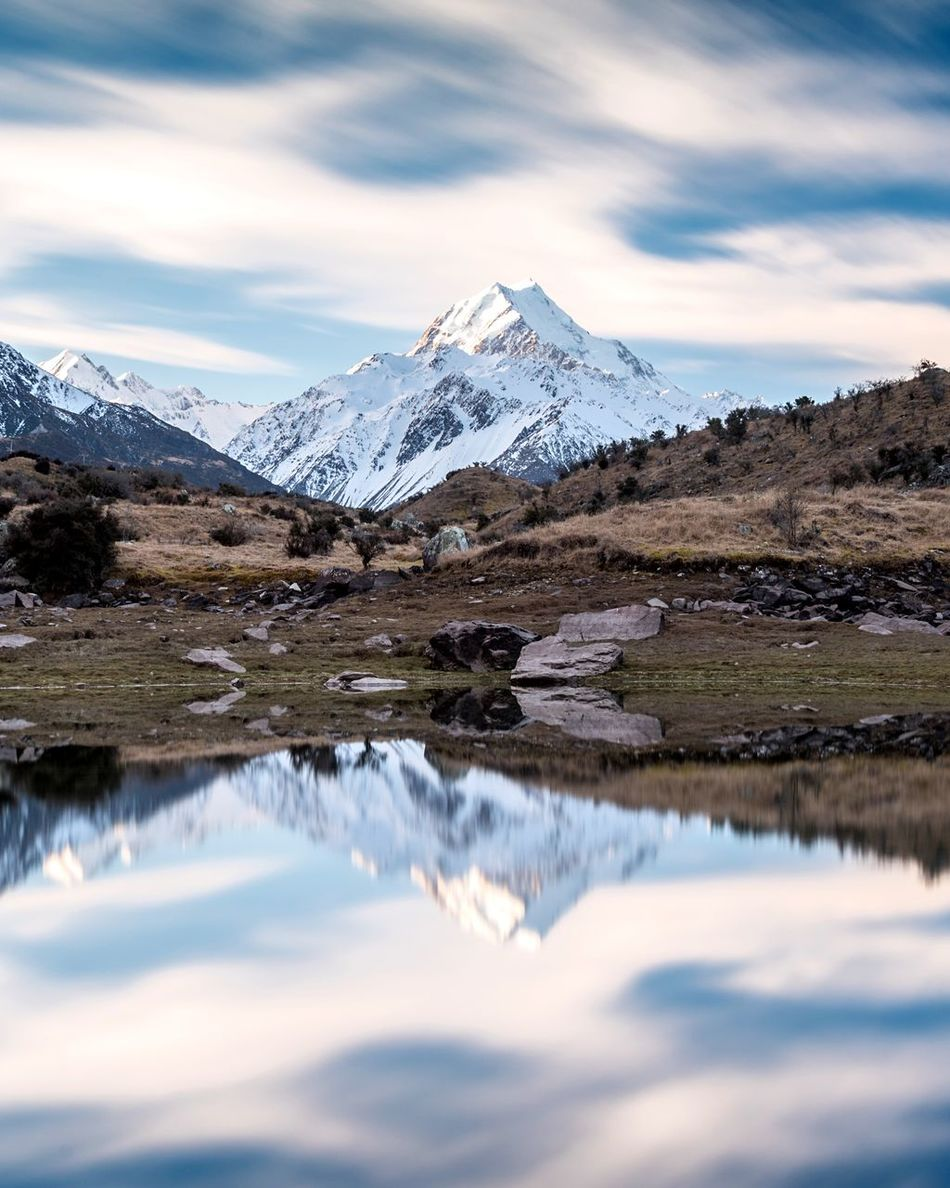 This here is Mt Cook. A visit here means you either see it or you don't but when he's in the mood to show off... there's nothing better Snow Reflection Sky Travel Mountain Beauty In Nature Water Landscape Outdoors No People Ladyphotographerofthemonth EyeEm Masterclass For My Friends That Connect New Zealand Scenery Exceptional Photographs Nature On Your Doorstep My Sky Obsession... Tadaa Community Reflection Eye4photography  Landscape_Collection Long Exposure Nature_collection Cloud - Sky Mountains