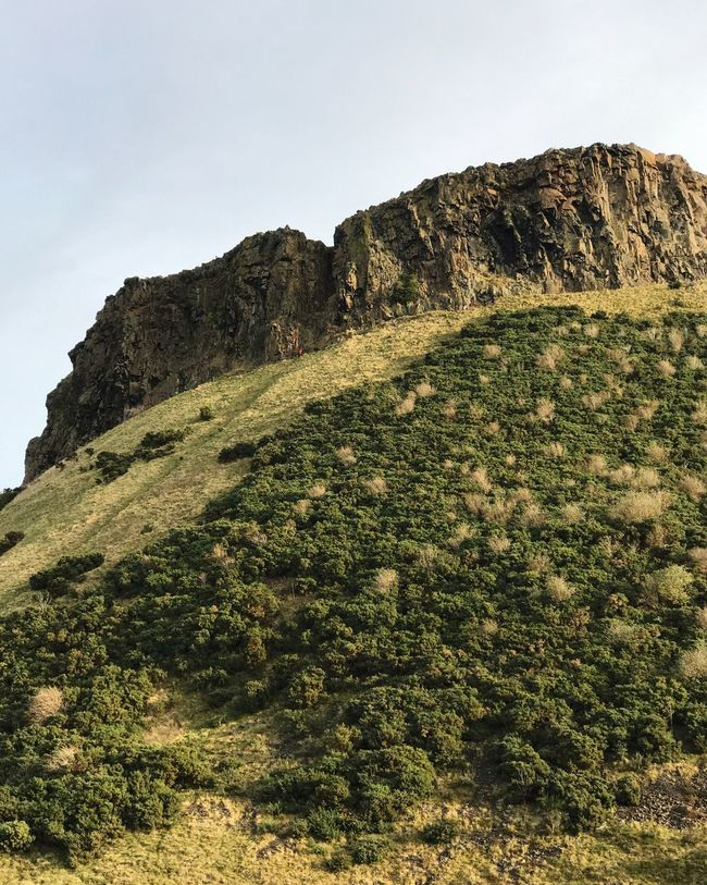 Nature Rock - Object Rock Formation Beauty In Nature No People Cliff Mountain Day Landscape Sky Tranquil Scene Outdoors Clear Sky Tranquility Scenics Low Angle View Physical Geography Slope Grass Arthur's Seat