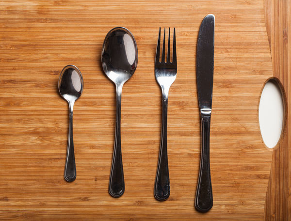 Close-up Cutlery Day Directly Above Food Fork Indoors  Knife No People Silverware  Spoon Stainless Steel  Studio Shot Table Wood - Material Wood Grain
