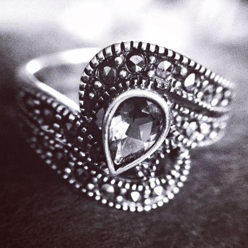 Marcasite Ring Love Bokeh Shiny IPhoneography Bnw_collection Bnw Amethyst Macro Silver  Pretty Precious Vintage Blackandwhite Marcasite Ring Jewellery Jewelry Still Life Indoors  Close-up No People High Angle View