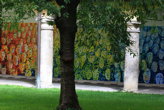 Architecture Austria Cloister Day Faces Grass Graz Multi Colored Mural Art No People Outdoors Steiermark Summer 2016 Tree
