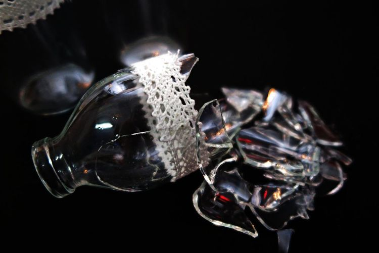 Black Backround Bokeh Bottle Broken Glass Close-up Creative Light And Shadow Detail Drink Elégance Focus On Foreground Fragility Getting Creative Glowing Indoors  Lace Mirrorless No People Shabby Chic Shards Shiny Still Life Vase Showcase: November