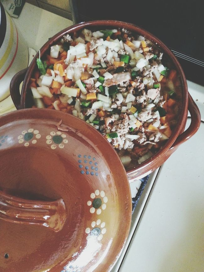 The beginnings of picadillo in the new cooking pottery my honey brought home from Michoacan.... Picadillo Foodporn Pottery Michoacan
