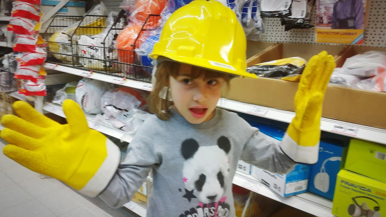 Horizontal Indoors  Industry One Person People Kids Playing Childhood Kids Indoors  Kids Being Kids Yellow Hat Safety First Yellow Gloves Kids Photography Kids Portrait Kidsphotography Kids Having Fun Kidsportrait Safetyfirst Industrialbeauty Little Girl Horizontal Sweet Safety First! Indoors