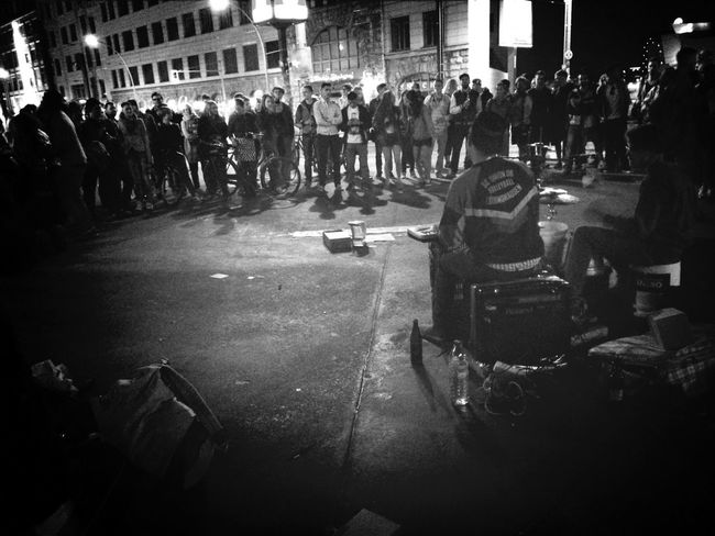 Firstwetakeberlin street band covering hiphop tracks - quite successful. Saturday Night