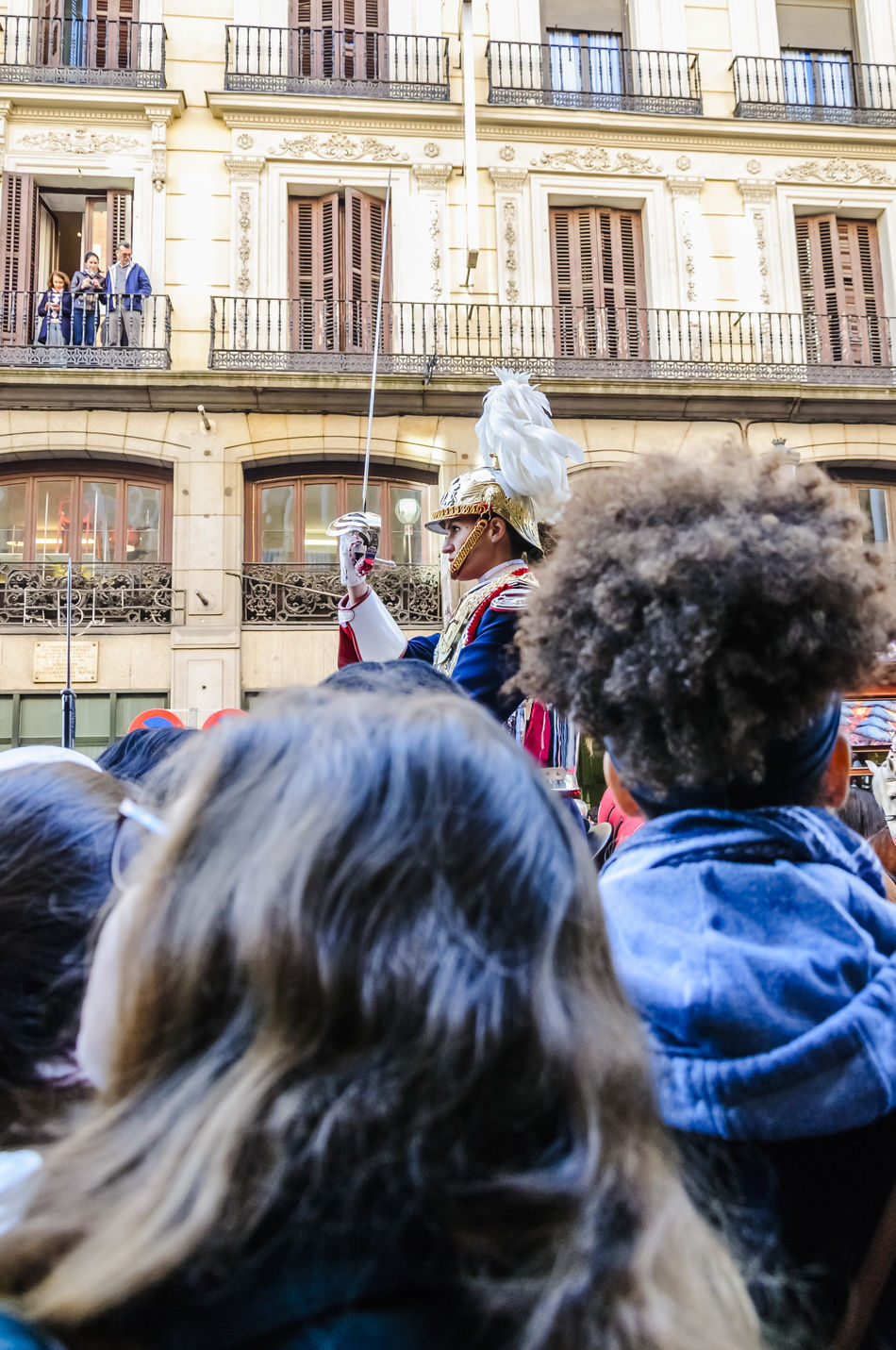 Framed head shot of female cavalry soldier in Madrid surrounded by on lookers. Cavalry City City Cultures Editorial  Guard Helmet Horse Horse Riding Horses Men Military Mounted News People Street Travel Uniform Uniforms Watching Women