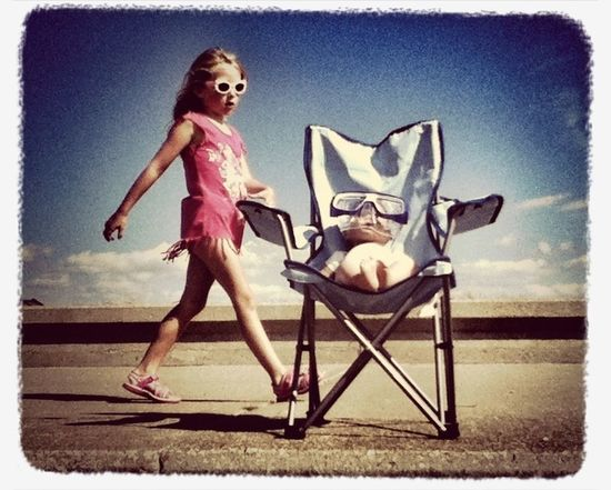 Evie @heacham #promenade #doll #chair #beach #seaside