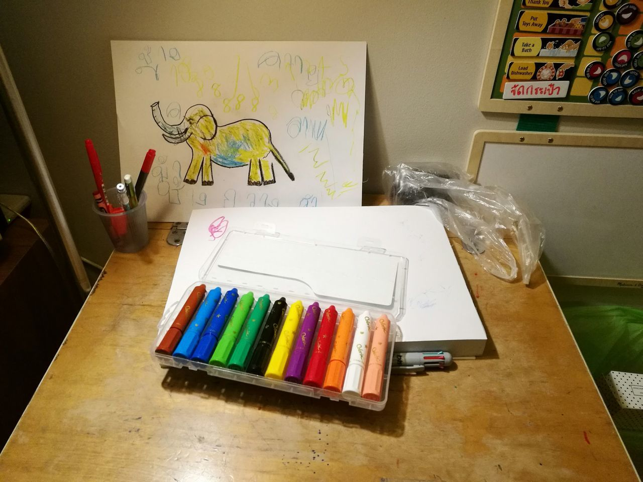Indoors  Multi Colored Drawing - Art Product No People Colored Pencil Studio Sketch Pad Day Drawing Color Picture Kid Boy Fun Table Working Space