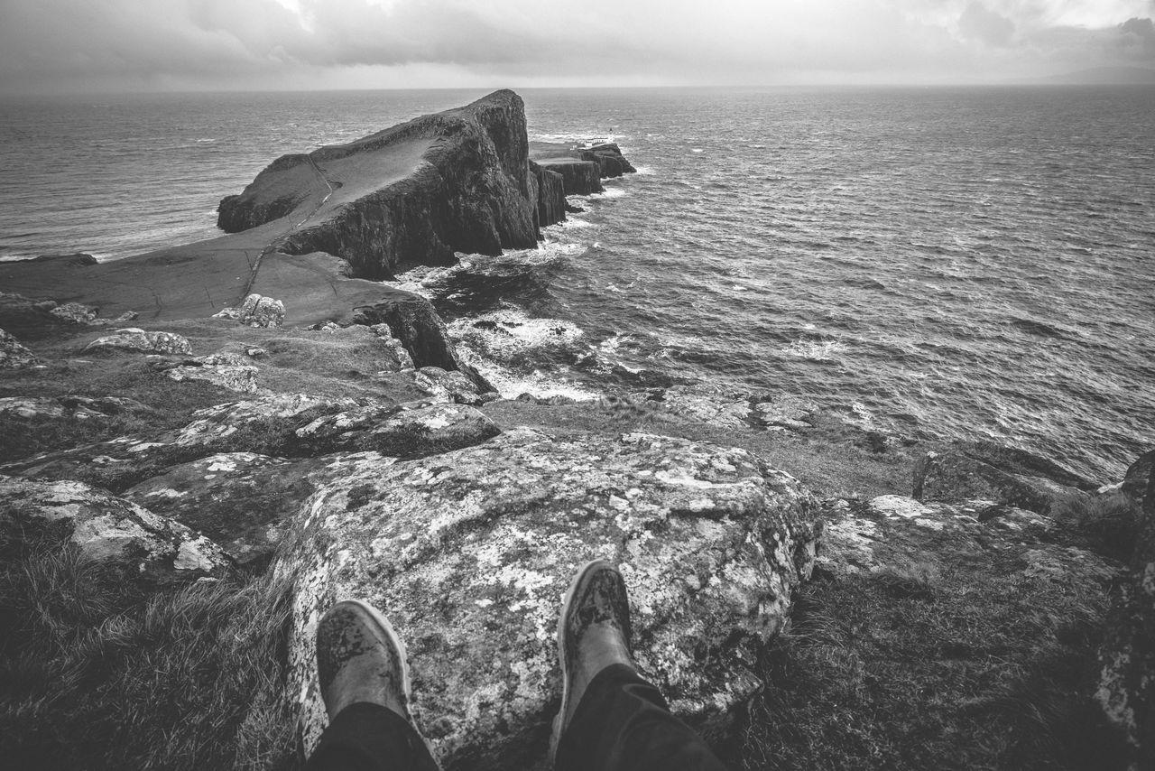 Horizon Over Water Human Leg Lighthouse Nature Neist Point Neistpointlighthouse Outdoors Real People Rubber Boots Scenics Scotland Scotlandsbeauty Sea Sky Uk Water