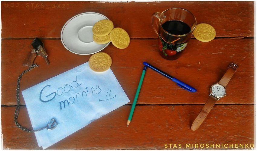 Good Morning Tea Clock Watch Cookies Painting Beauty Landscape