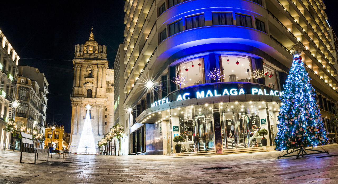 Panoramic Málaga Architecture Arrival Business Finance And Industry City Cityscape Dome Government Illuminated Night No People Outdoors Street Tourism Travel Travel Destinations Vacations Winter