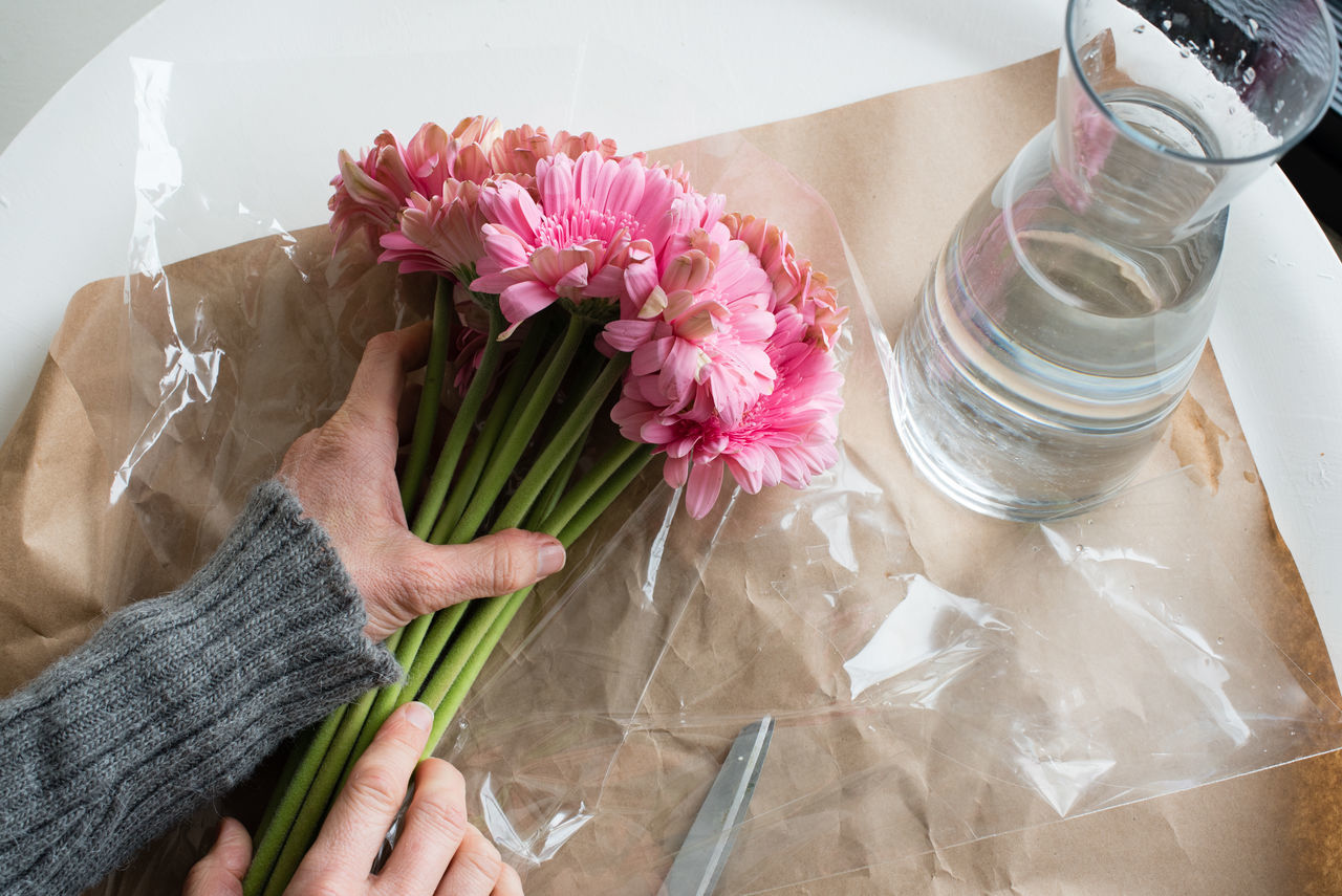 High angle view of woman's hands holding pink gerberas ready to place in glass vase Close-up Day Flower Flower Head Freshness Gerbera Daisy Healthy Eating High Angle View Human Body Part Human Hand Indoors  One Person People Table