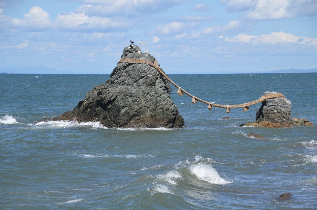 Meoto Iwa (Wedded Rocks) At Ise Japan Ise Japan Japanese  Meoto Iwa Meoto-iwa Rock Beauty In Nature Meotoiwa Nature Scenics Sea Shinto Shintoism Sky Water Wedded