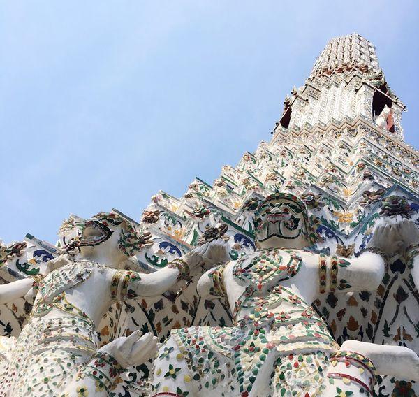 Watarunbangkok Wat Arun Bangkok Giant White Color Harmony Sky Art Temple