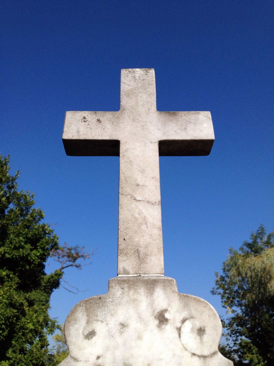Beautiful stock photos of tombstone, Blue, Catholicism, Christianity, Clear Sky