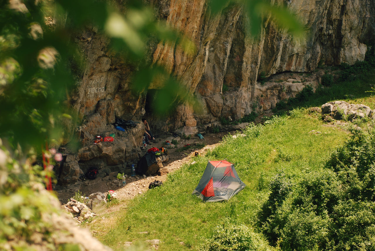 High angle view of a campsite of mountain climbers. Active Lifestyle  Adventure Alpine Backpacking Bivouac Bulgaria Camp Camping Campinglife Campsite Climbing Freedom Gear High Angle View Leisure Activity Mountaineering Nature Outdoors Outdoors❤ Rock RockClimbing Spring Summer Sunlight Tourism