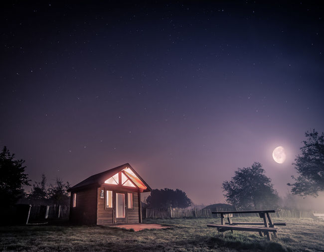 Astronomy Beauty In Nature Cabin Constellation Diest Galaxy Illuminated Milky Way Moon Nature Night No People Outdoors Scenics Sky Space Star - Space Star Field Tree