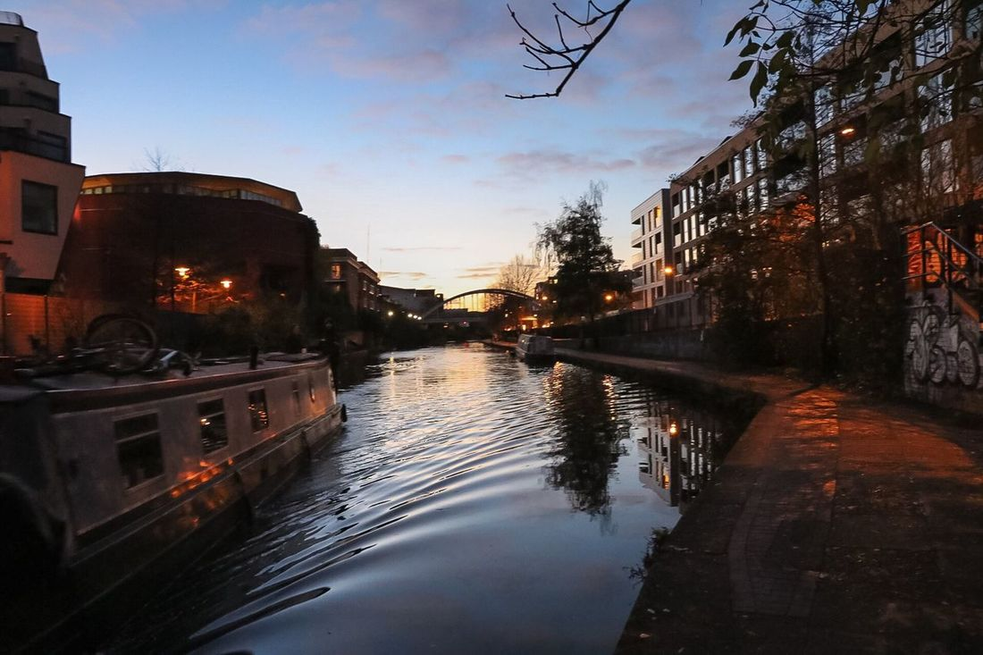 Water Reflection Canal Sunset Regents Canal Canon 80D London Autumn