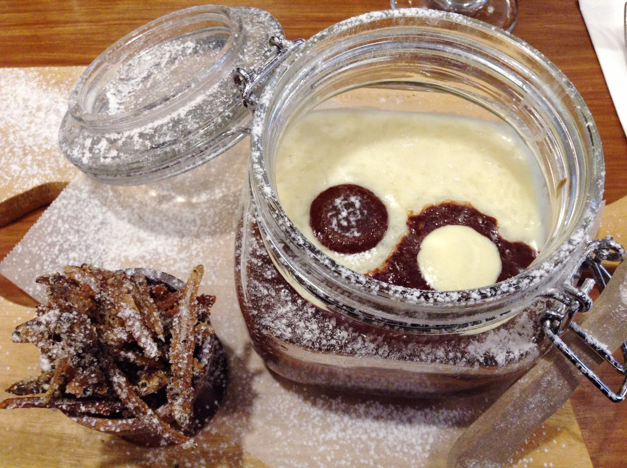 Yinyang Champorado Breakfast Yummy Chocolate Dilis Jar Close-up Table Temptation Sweet Food