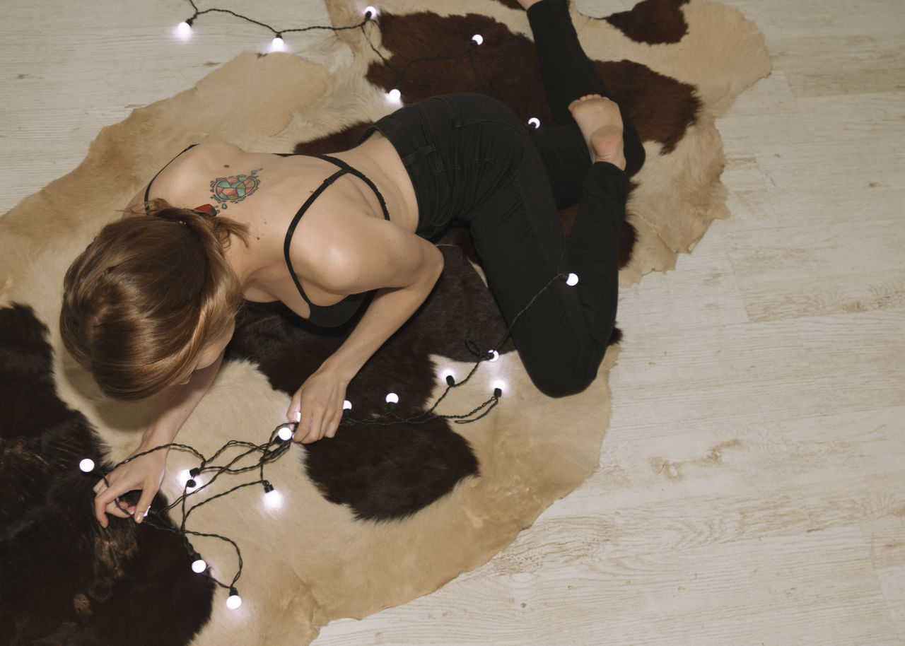 Afterparty Back Beauty Black Outfit Cow Fur Female Girl Indoors  Lights Linas Was Here Model Model Tattoo Wood