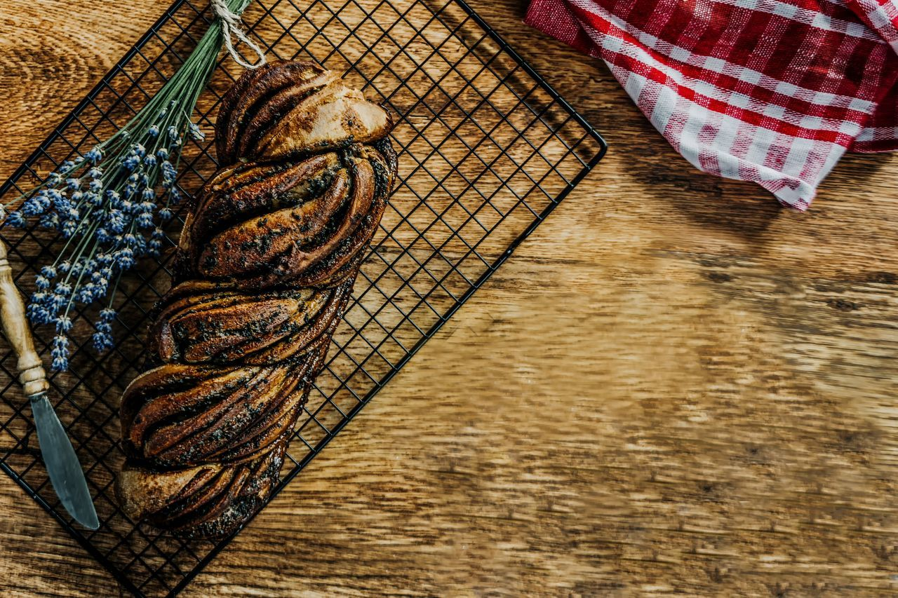 Matcha Baxk Sesame Babka Table No People Indoors  High Angle View Close-up Day Walnuts Food Preparation  Preparation  Preparation  Healthy Eating Food And Drink Focus On Foreground