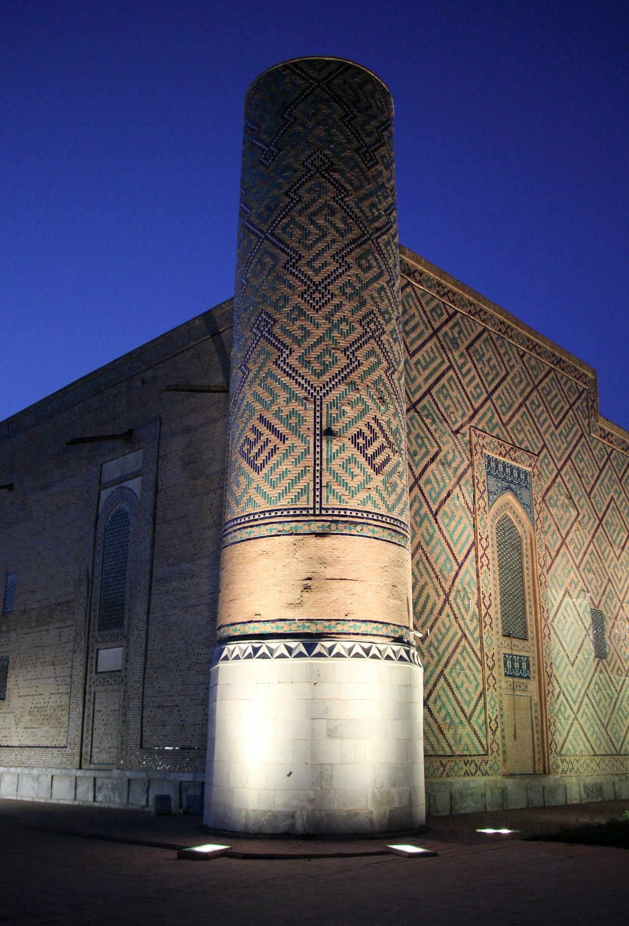 Architectural Column Architecture Built Structure Clear Sky Day Evening Sky Islamic Architecture Islamic Art Low Angle View Madrassa No People Outdoors Registan Samarkand Samarqand Silk Road Sky Uzbekistan