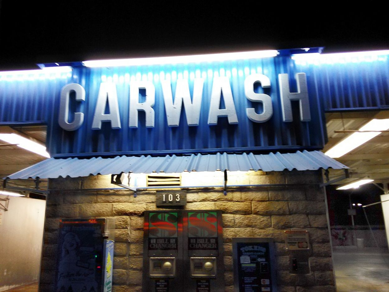 An old coin-op Carwash in Tustin. Tustin Calif Night Photography Urban Photography Hanging Out Signage Utilitarian Minimalist (sort of) Urban Landscape Urban Life Nightcall