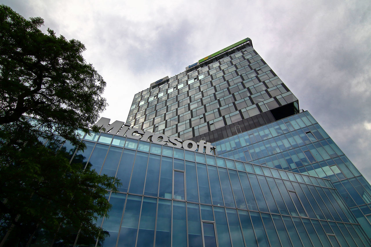 Bucharest, Romania - May 20, 2017: View of Microsoft Romania headquarters in City Gate Towers situated in Free Press Square, in Bucharest, Romania. May 20, 2017 Architecture Architecture; Bucharest; Bucuresti; Building Buildings City City Gate South Tower City Gate Towers Cityscape Cloudy Sky Edifice Free Press Square Landmark Microsoft Headquarters Microsoft; Office Office Block Office Building Offices Outdoor Romania Structure Tourism Urban