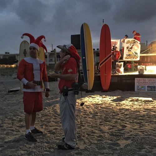 Setting up for surfing santas Surfing Santa Cocoa Beach, Florida Surfing Santas