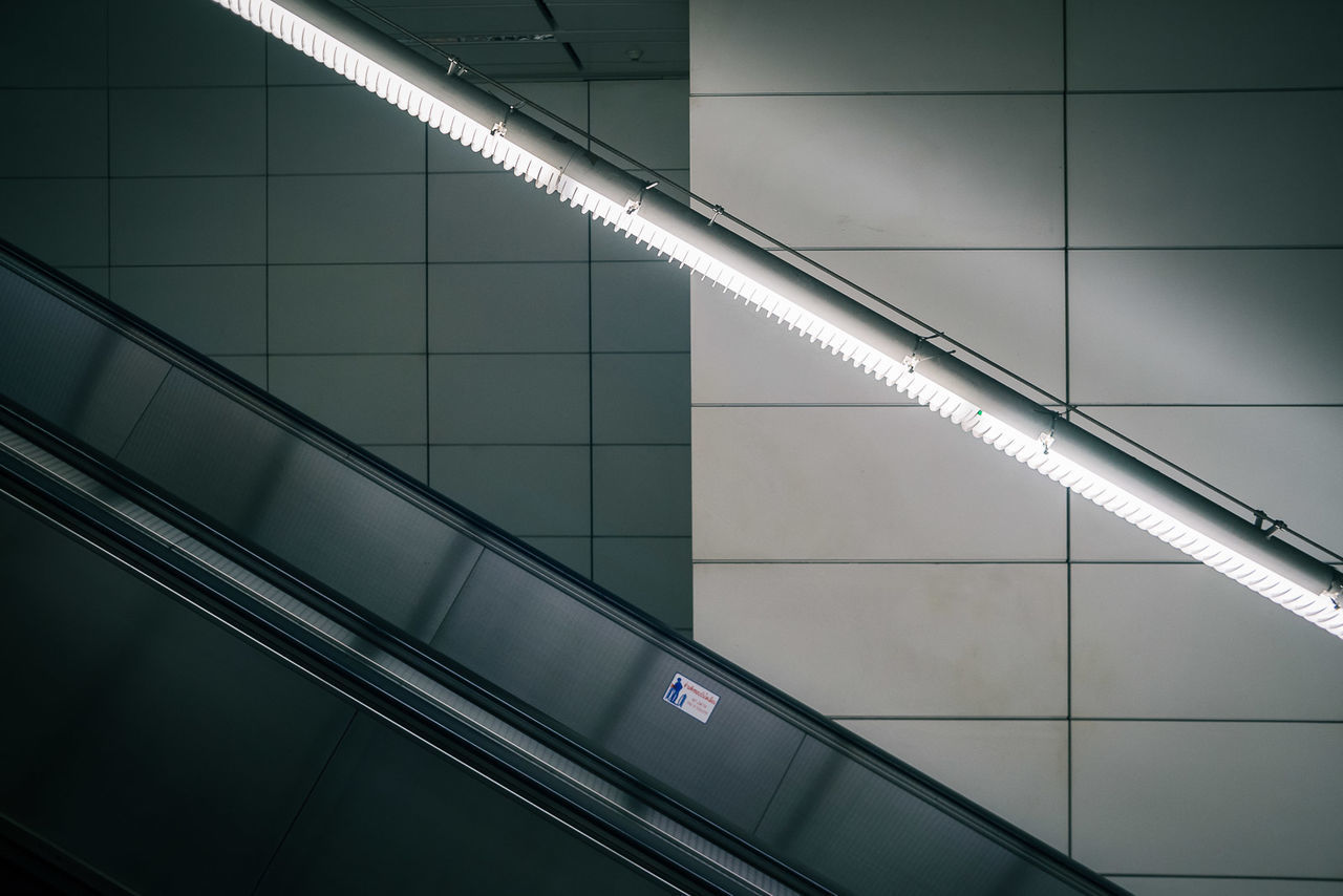 illuminated, indoors, architecture, built structure, transportation, subway station, no people, technology, day