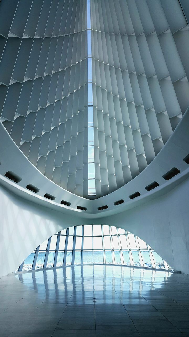 modern, architecture, futuristic, staircase, low angle view, no people, indoors, built structure, airport, technology, airplane, day