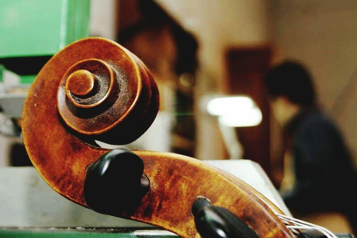 Close-up Indoors  Liutaio Al Lavoro Liuteria Liutaio Cremona Stradivari