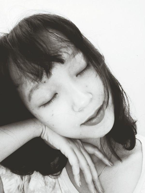 Monochrome Photography Young Women Black Hair Person Closeeyes Vietnamesegirl
