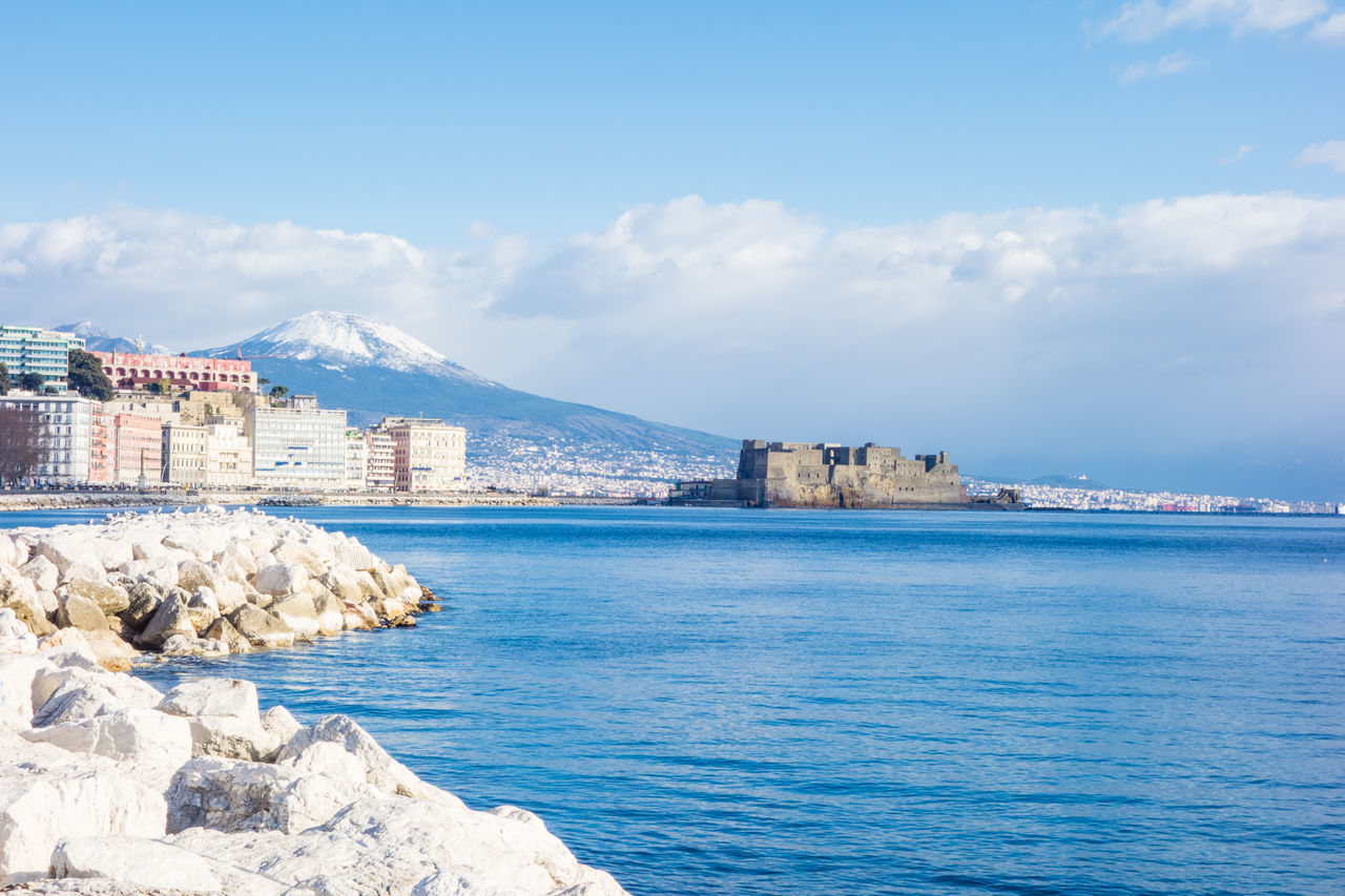 Naples view with vesuvio and sea. Blue Sky Landscape Naples, Italy Napoli Sea And Sky Seascape Vesuvio Vesuvius  View Winter